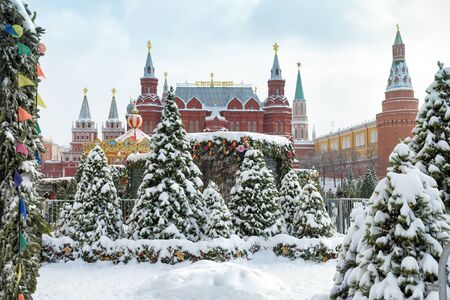 State Historical Museum and Moscow Kremlin in the winter, Russia Banque d'images