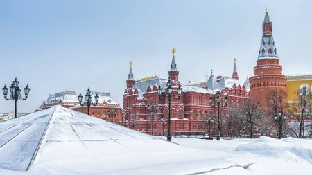 Manezhnaya Square in the winter in Moscow, Russia. Panoramic view of central Moscow during snowfall.