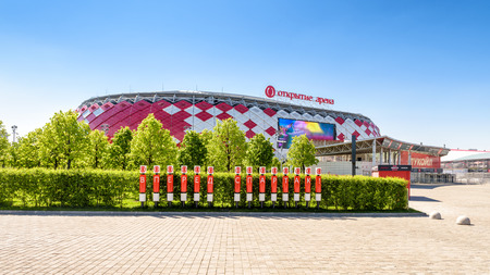 Moscow, Russia - May 11, 2018: Panoramic scenic view of Spartak Stadium (Otkritie Arena). New modern stadium in Moscow for football. Spartak Stadium has been selected for the 2018 FIFA World Cup.