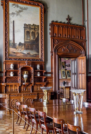 Crimea - May 20, 2016: Inside the Vorontsov Palace in Crimea, Russia. It is one of the main landmarks of Crimea. Vintage interior with wooden decoration of Vorontsov Palace.