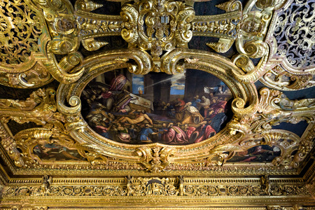 Venice, Italy - May 20, 2017: Detail of the nterior of ornate Doge's Palace or Palazzo Ducale. Doge's Palace is one of the main landmarks of Venice. Luxury painted ceiling in Doge's Palace close-up. Sajtókép