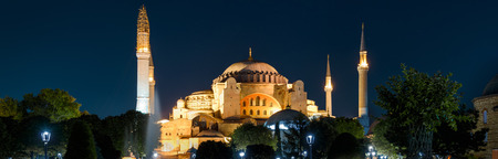Hagia Sophia at night, Istanbul, Turkey. It is a top landmark of Istanbul. Panoramic view of the ancient Hagia Sophia or Aya Sofya at dusk. Byzantine architecture of Istanbul, formerly Constantinople.