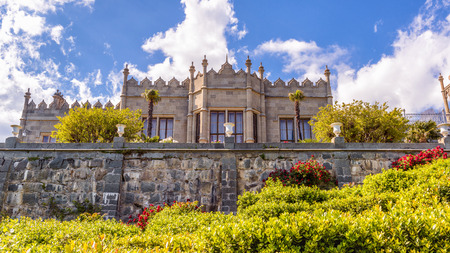Crimea - May 20, 2016: Vorontsov Palace with landscape garden in Crimea, Russia. It is one of the main landmarks of Crimea. Panoramic scenic view of the old beautiful architecture of Crimea in summer.