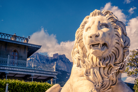 Alupka, Crimea - May 20, 2016: Vorontsov Palace with a marble lion in Crimea, Russia. Vorontsov Palace is one of the top landmarks of Crimea. Beautiful architecture of Russian Empire in South Crimea. Editorial