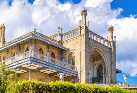 Crimea - May 20, 2016: Vorontsov Palace in Arabic style in Crimea, Russia. Old Vorontsov Palace is one of the top landmarks of Crimea. Scenic view of historical architecture of Crimea in summer.