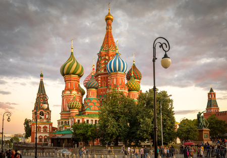 Moscow – Aug 22, 2018: St Basil`s Cathedral on Red Square at sunset in Moscow, Russia. St Basil`s temple is one of top tourist attractions of Moscow. Ancient architecture of Moscow in summer evening.