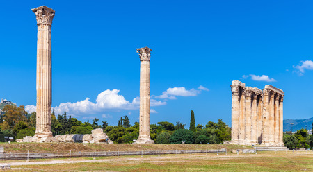 Temple of Olympian Zeus, Athens, Greece. It is one of the top landmarks of Athens. Panorama of famous Ancient Greek ruins in the Athens center. Scenic view of remains of the antique Athens city. Reklamní fotografie - 121966838