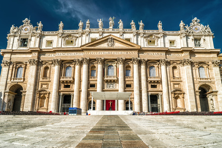 St Peters Basilica or San Pietro in Vatican City, Rome, Italy. It is a famous landmark of Rome. Front view of beautiful facade of St Peters cathedral. Renaissance architecture of old Rome in summer.