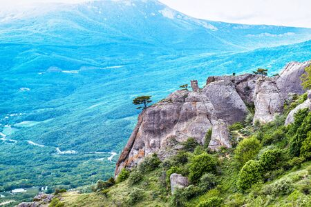 Landscape of Crimea in summer, Russia. Scenic view of rocks of Demerdji mountain. This area is a tourist attraction of Crimea. Panorama of beautiful nature of Southern coast of Crimea.