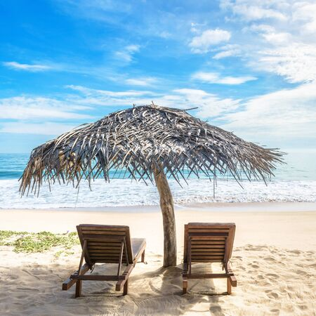 Beach beds with umbrella on tropical beach, Sri Lanka. Sunny view of beautiful sandy shore and ocean. Idyllic and romantic sea beach in summer. Concept of travel, vacation and relax in paradise.