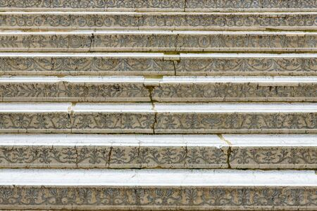 Giant`s staircase of Doge`s Palace or Palazzo Ducale, Venice, Italy. This old building is a famous landmark of Venice. Beautiful medieval patterned stairs closeup. Renaissance architecture of Venice.