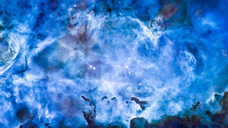 Nebula and galaxies in the universe. Abstract space background. Panoramic photo of deep cosmos. Magic blue nebula in outer space for wallpaper.