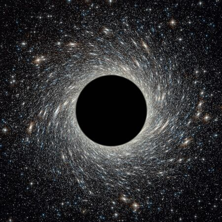 Black hole in universe. Wormhole and stars in outer space. Galaxy center with big black hole in deep cosmos. Space and science concept for background. Elements of this image furnished by NASA.