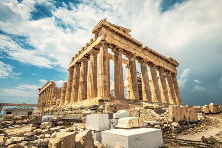 Parthenon on Acropolis, Athens, Greece. It is top landmark of Athens. Famous temple in Athens city center. Scenery of Greek ruins, remains of classical culture. Great architecture of ancient Athens.