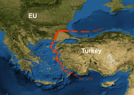 Border EU and Turkey on geographic map, refugee crisis concept. Conflict between European Union and Turkey over the flow of migrants.
