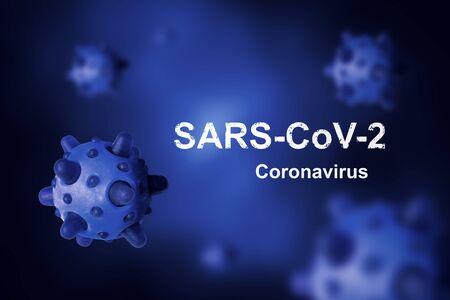 COVID-19 coronavirus banner, 3d illustration. COVID disease theme on blue background. Deadly SARS-CoV-2 corona virus global outbreak. Poster with COVID19 coronavirus pandemic and warning concept. Stock Photo