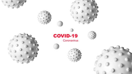 COVID-19 coronavirus banner, 3d illustration. Inscription COVID and germs isolated on white background. SARS-CoV-2 corona virus global outbreak. Poster with COVID19 coronavirus pandemic concept.
