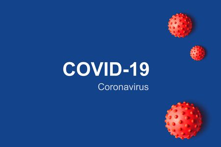 COVID-19 coronavirus background, 3d illustration. Red germs isolated on blue background with copy space for text. Banner with coronavirus pandemic concept. SARS-CoV-2 corona virus global outbreak.