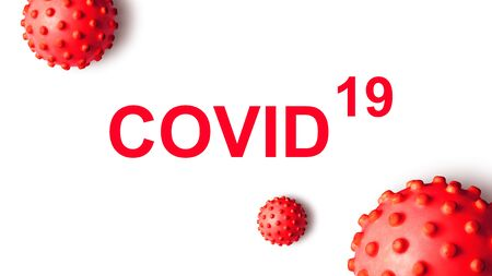 COVID-19 coronavirus banner, 3d illustration. Inscription COVID and red germs isolated on white background. SARS-CoV-2 corona virus global outbreak. Poster with COVID19 coronavirus pandemic concept.