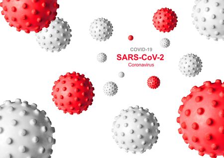 COVID-19 coronavirus banner, 3d illustration. Inscription SARS-CoV-2 coronavirus and germs on white background. Novel corona virus global outbreak. Poster with COVID19 coronavirus pandemic concept.