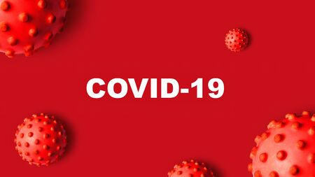 COVID-19 coronavirus banner, 3d illustration. COVID disease theme on red background. Deadly SARS-CoV-2 corona virus global outbreak. Poster with COVID19 coronavirus pandemic and warning concept.