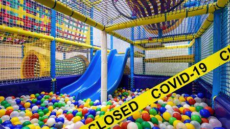 Kids playground closed due to COVID-19 coronavirus disease. SARS-CoV-2 corona virus outbreak, countries impose quarantine and restrictions on movement during coronavirus pandemic.