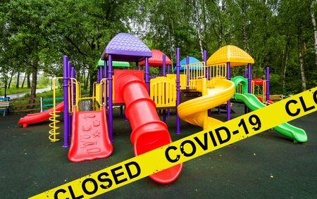 Kids playground closed due to COVID-19 coronavirus disease. SARS-CoV-2 corona virus outbreak, countries impose quarantine and restrictions on movement during coronavirus pandemic. Reklamní fotografie