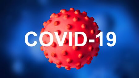 COVID-19 coronavirus banner, 3d illustration. COVID disease theme on dark blue background. Novel SARS-CoV-2 corona virus global outbreak. Poster with COVID19 coronavirus pandemic and warning concept.