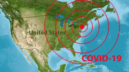 Coronavirus infection in USA, COVID-19 outbreak in New York on map of America. Novel SARS-CoV-2 corona virus spreads in US. Concept of COVID19 pandemic.