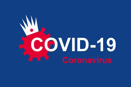 COVID-19 coronavirus banner, red germ with crown and inscription COVID19 on blue background. Novel SARS-CoV-2 corona virus global outbreak and pandemic. Graphic design with coronavirus concept. Banque d'images