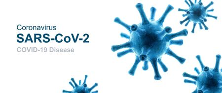 COVID-19 coronavirus background, 3d illustration, pathogen germs isolated on white background. Novel SARS-CoV-2 corona virus global outbreak. Panoramic banner with coronavirus pandemic concept. Banque d'images