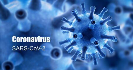 Coronavirus banner, 3d rendering, COVID-19 disease theme on blue background. Novel SARS-CoV-2 corona virus global outbreak, poster with concept of coronavirus pandemic, technology and science.