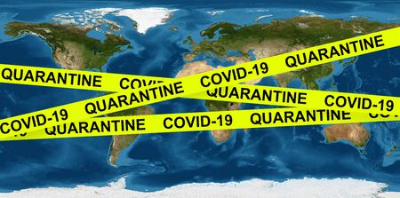 COVID-19 coronavirus pandemic and quarantine concept, caution tape on Earth map.  economy hits  corona virus outbreak, global crisis due to COVID spread.      . Banque d'images