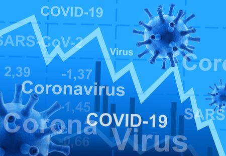 COVID-19 coronavirus effect to business, graph of stock market during COVID pandemic, world economy hits by corona virus, concept of global financial crisis due to coronavirus outbreak. 3D rendering. Banque d'images