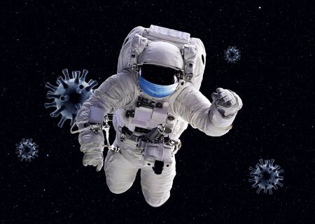 COVID-19 coronavirus pandemic concept, funny astronaut wearing medical mask moves in outer space among corona viruses, 3d render. Stop global spread!       . Banque d'images