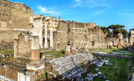 Forum of Augustus in summer, Rome, Italy, it is historic tourist attraction of Rome. Urban landscape with ancient ruins in old Rome city center, scenic view of monument of famous Roman Empire.