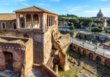 House of Knights of Rhodes on Forum of Augustus, Rome, Italy. It is old tourist attraction of Rome. Medieval building and ancient ruins in Roma city center, monuments of famous historical Rome.