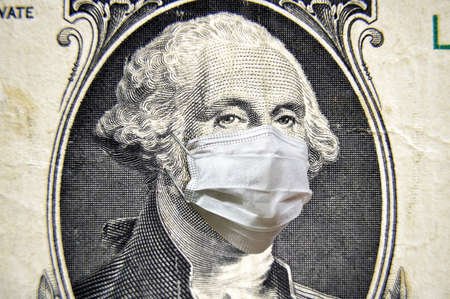 Coronavirus in USA, President Washington with face mask on dollar money bill. COVID-19 affects the global stock market. World economy hit by corona virus pandemic fears. Concept of crisis and finance.