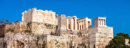 Acropolis of Athens in summer, Greece. It is top tourist attraction of old Athens. Panoramic view of ancient Propylaea, famous entrance gate of Acropolis, classical Greek ruins in Athens center. 版權商用圖片
