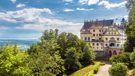 Castle of Heiligenberg in Linzgau, Germany. This Renaissance castle is a landmark of Baden-Wurttemberg. Panoramic scenic view of old German castle on hill. Landscape with medieval castle in summer.