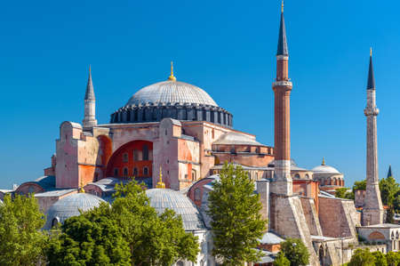 Hagia Sophia mosque in summer, Istanbul, Turkey. Ancient Hagia Sophia or Ayasofya is top historical landmark of Istanbul. Beautiful view of famous former Byzantine cathedral in Istanbul old center.