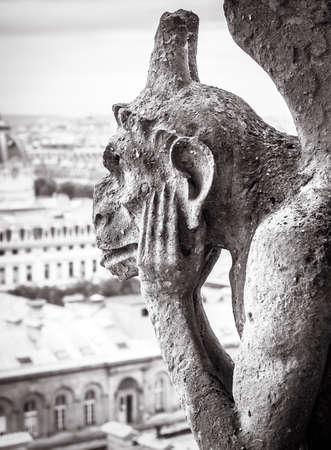 Notre Dame de Paris cathedral in black and white, Paris, France. Melancholic chimera statue like gothic gargoyle close-up, architecture detail of rooftop. Old Notre Dame is famous landmark of Paris.