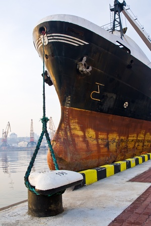 Bow of the cargo ship at the pier.