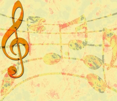 treble clef: Yellow Grunge Music Banner with Treble Clef