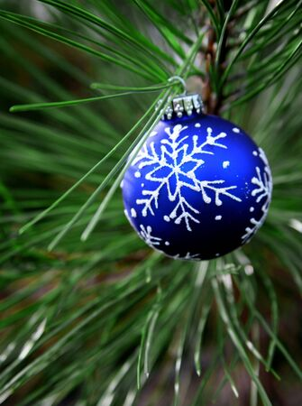 Blue Christmas Bulb on Tree with Glitter White Snowflake