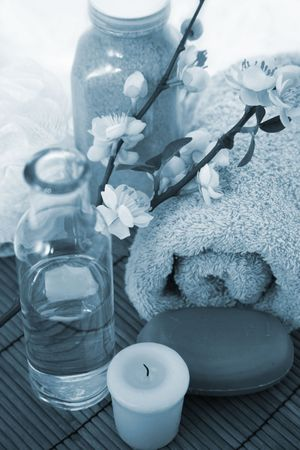 retreat: Spa Retreat with Towels, Candles, Bath Salts and Apple Blossoms
