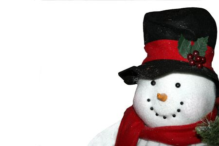 Snowman with Red Scarf, Black Hat, and Shovel Isolated on White Background Stock Photo - 1469992