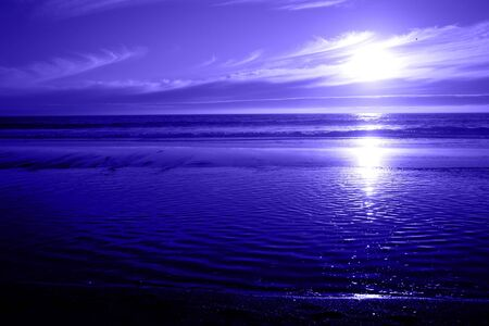 Blue Ocean Sunset Stock Photo