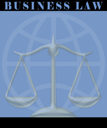 Business Law Solutions Poster Duotone with Scales of Justice 版權商用圖片