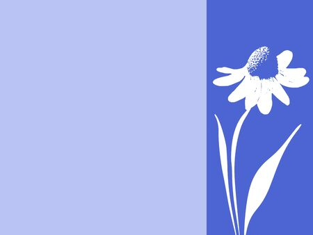 Blue Stamped Daisy Ad Banner or Postcard with Room for Ad Copy